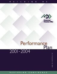 HPO Performance Plan 2001-2004 - Homeowner Protection Office