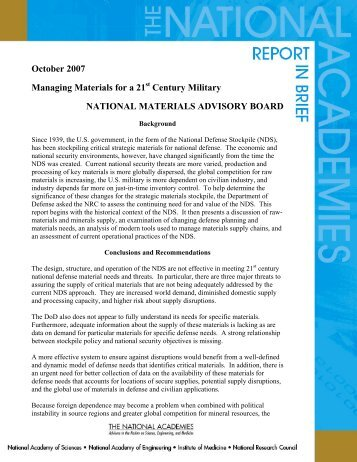 Managing Materials for a 21st Century Military - National Academies