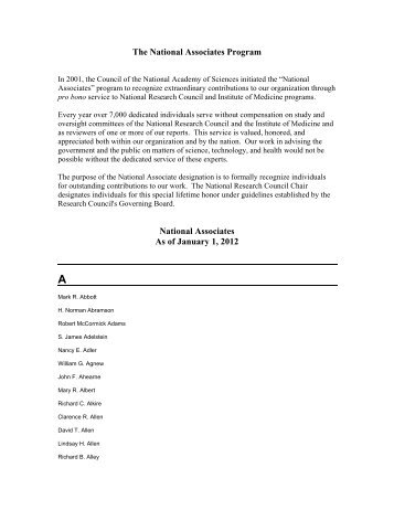 The National Associates Program - National Academies