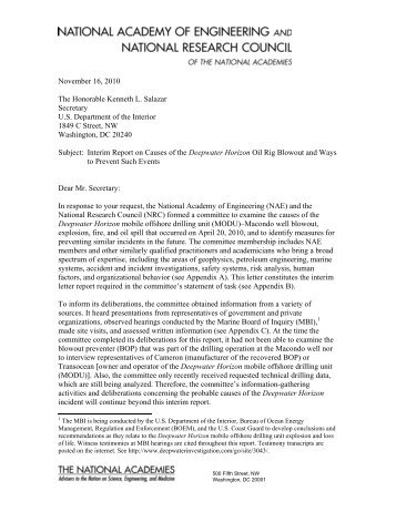 Interim Report on Causes of the Deepwater Horizon Oil Rig Blowout