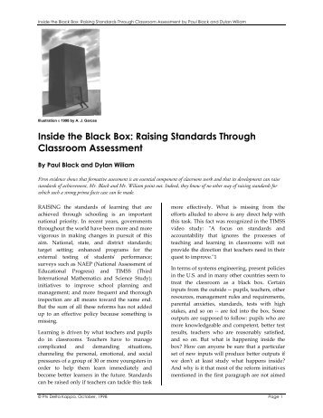 Inside the Black Box: Raising Standards Through Classroom ...