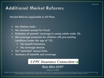 Market Reforms Applicable to All Plans No Lifetime ... - UFPC.com