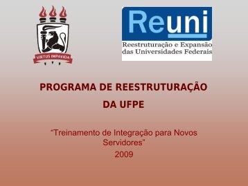 Apresentação do REUNI - UFPE - Universidade Federal de ...