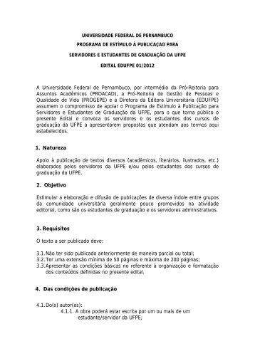 (PROACAD), a Pró-Reitoria de G - UFPE - Universidade Federal de ...