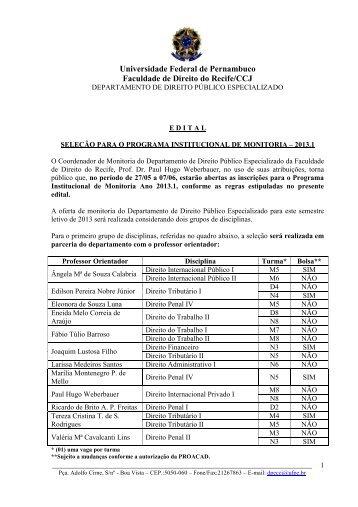 CENTRO DE CIÊNCIAS JURÍDICAS - UFPE - Universidade Federal ...
