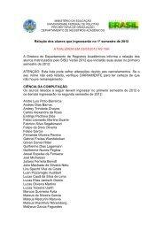 Relação dos alunos que ingressarão no 1º semestre de 2012 ...