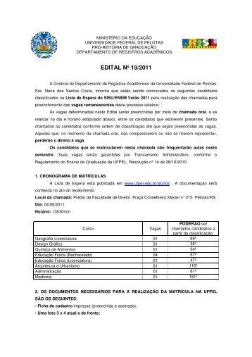 EDITAL Nº 19/2011 - Universidade Federal de Pelotas