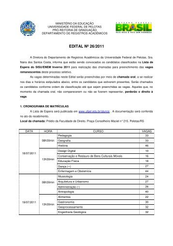 EDITAL Nº 26/2011 - Universidade Federal de Pelotas