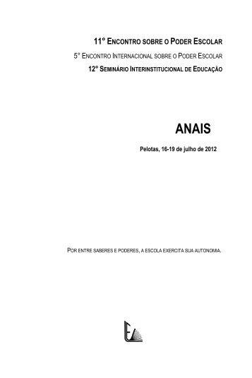 anais 11º encontro sobre o poderescolar 2012 - Universidade ...