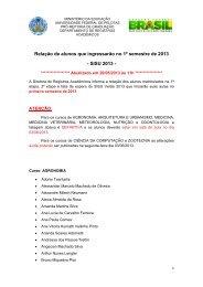 Relação de alunos que ingressarão no 1º semestre de 2013 - SISU ...