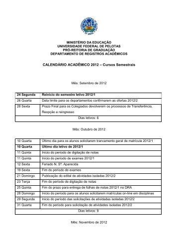 REINICIO - Cursos Semestrais 2012 - Universidade Federal de ...