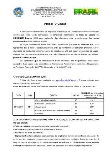 EDITAL Nº 42/2011 - Universidade Federal de Pelotas