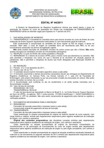 EDITAL Nº 44/2011 - Universidade Federal de Pelotas
