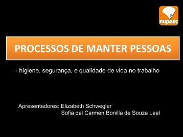 PROCESSOS DE MANTER PESSOAS - higiene, segurança, e ...