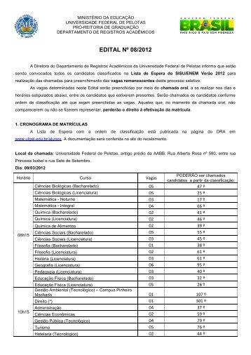 EDITAL Nº 08/2012 - Universidade Federal de Pelotas
