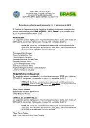 Relação dos alunos que ingressarão no 1º semestre de 2012 A ...