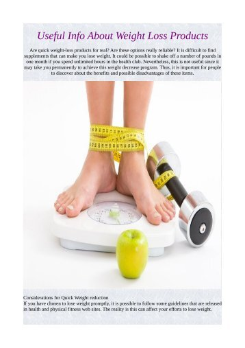 Useful Info About Weight Loss Products