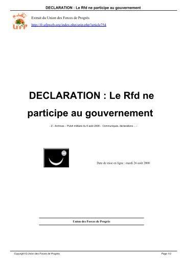DECLARATION : Le Rfd ne participe au gouvernement - Ufpweb.org