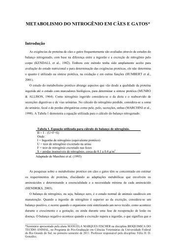 METABOLISMO DO NITROGÊNIO EM CÃES E GATOS* - UFRGS