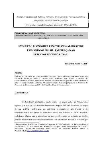 evolução econômica e institucional do setor primário no brasil - Ufrgs