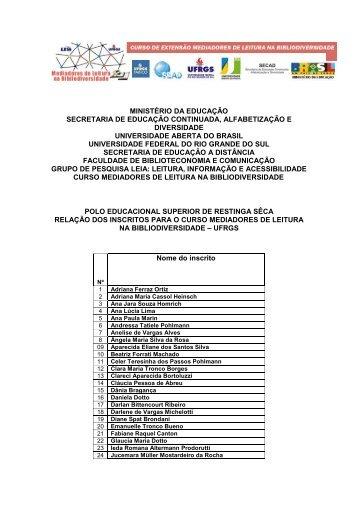 Lista de selecionados em pdf - UFRGS