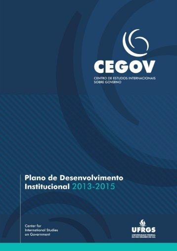 CEGOV | PLANO DE DESENVOLVIMENTO INSTITUCIONAL - UFRGS