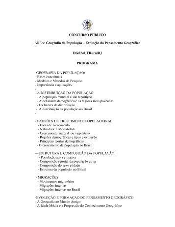 Programa do concurso para professor adjunto na rea de for Concurso profesor