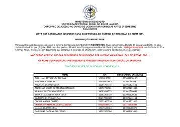 Lista dos Candidatos Inscritos com a Inscrição do ENEM ... - UFRRJ