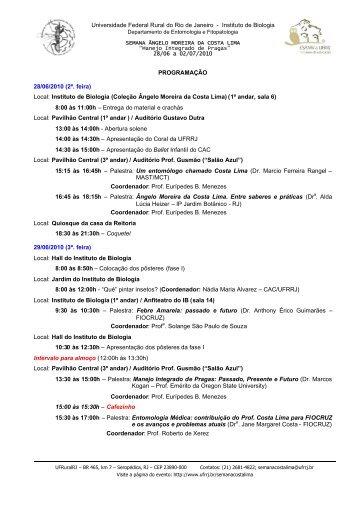 Veja a programação completa evento - UFRRJ