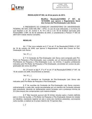 RESOLUÇÃO No 002, de 28 de janeiro de 2013. Modifica ... - UFSJ