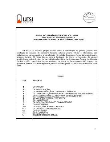 EDITAL DO PREGÃO PRESENCIAL Nº 011/2012 ... - UFSJ