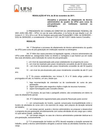 RESOLUÇÃO No 014, de 28 de novembro de 2011 ... - UFSJ