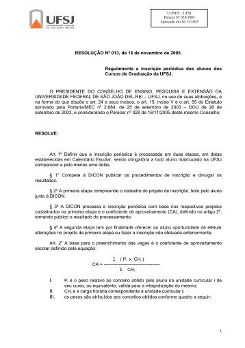 Resolução CONEP 013/2005. - UFSJ