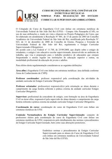 Normas para realização do Estágio Curricular Supervisionado - UFSJ