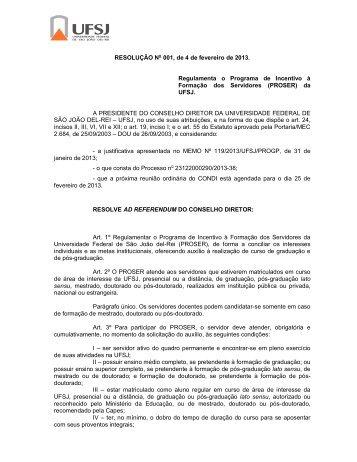 RESOLUÇÃO No 001, de 4 de fevereiro de 2013 ... - UFSJ