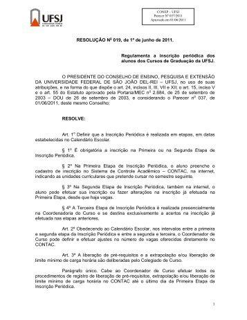 Resolução CONEP 019/2011 - UFSJ