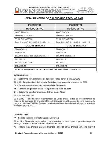 DETALHAMENTO DO CALENDÁRIO ESCOLAR 2012 - UFSJ