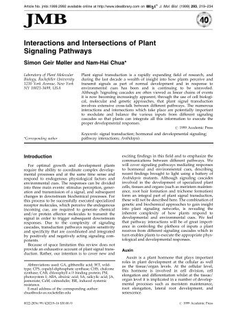 Interactions and Intersections of Plant Signaling Pathways - UFV