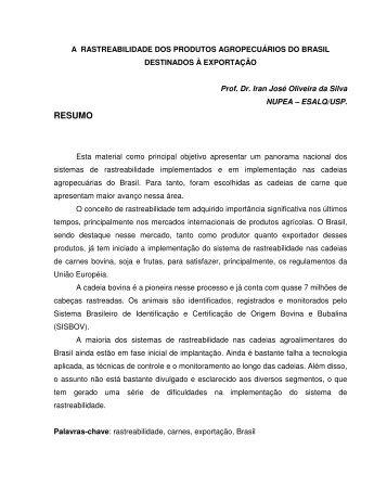 A rastreabilidade dos produtos agropecuários do ... - NUPEA - USP