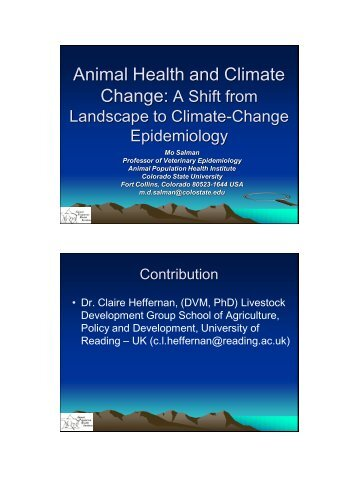 Animal Health and Climate Change: A shift from landscape to ...