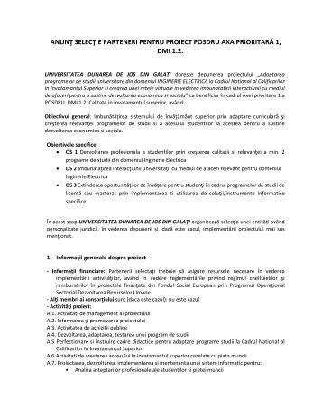 anunţ selecţie parteneri pentru proiect posdru axa ... - Dunarea de Jos