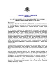 Establishment and Maintenance of Standards in Private ... - UGC