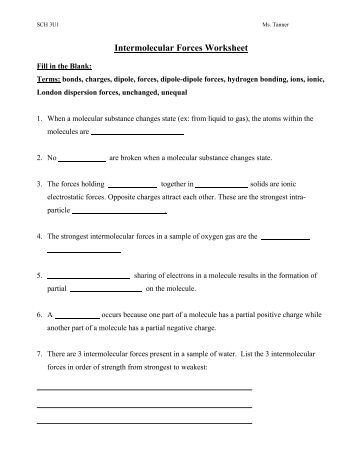 Printables Intermolecular Forces Worksheet worksheet 15 intermolecular forces chemical bonds are worksheet