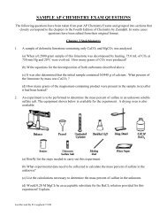 SAMPLE AP CHEMISTRY EXAM QUESTIONS