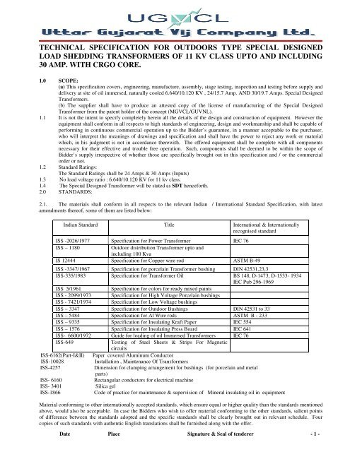 Specification of SDT451 pdf - uttar gujarat vij company ltd