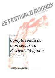 Compte rendu de mon séjour au Festival d'Avignon - UHasselt