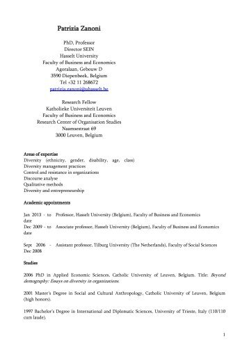 Patrizia Zanoni – CV - UHasselt