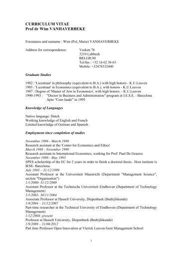 Persoonlijk CV - UHasselt