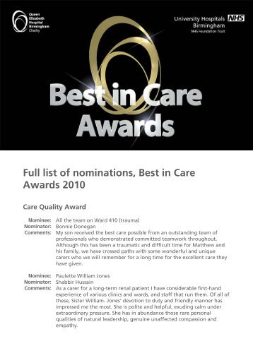 Full list of nominations for the Best in Care Awards 2010 - University ...