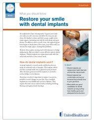 Restore your smile with dental implants (pdf) - UnitedHealthcare
